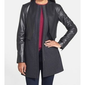 🚕Vera Wang Collarless Front Zip Wool Leather Coat